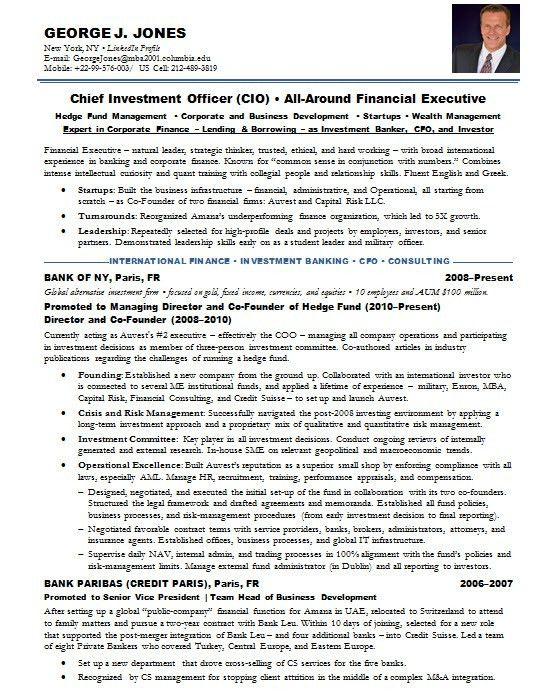 resume examples for banking investment banking executive resume ...