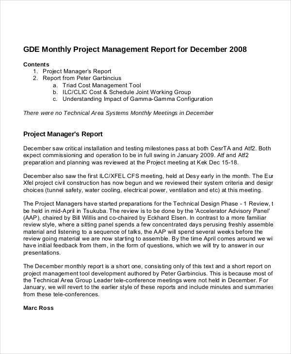 Project Management Report Templates - 7+ Free PDF Format Download ...
