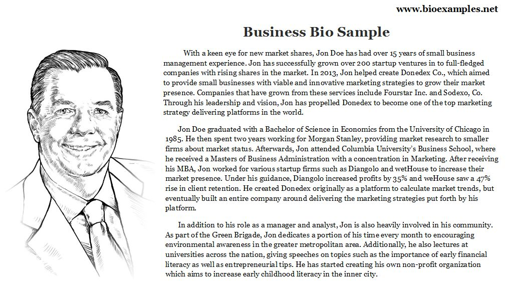 Business Bio Sample | Bio Examples | Pinterest | Business
