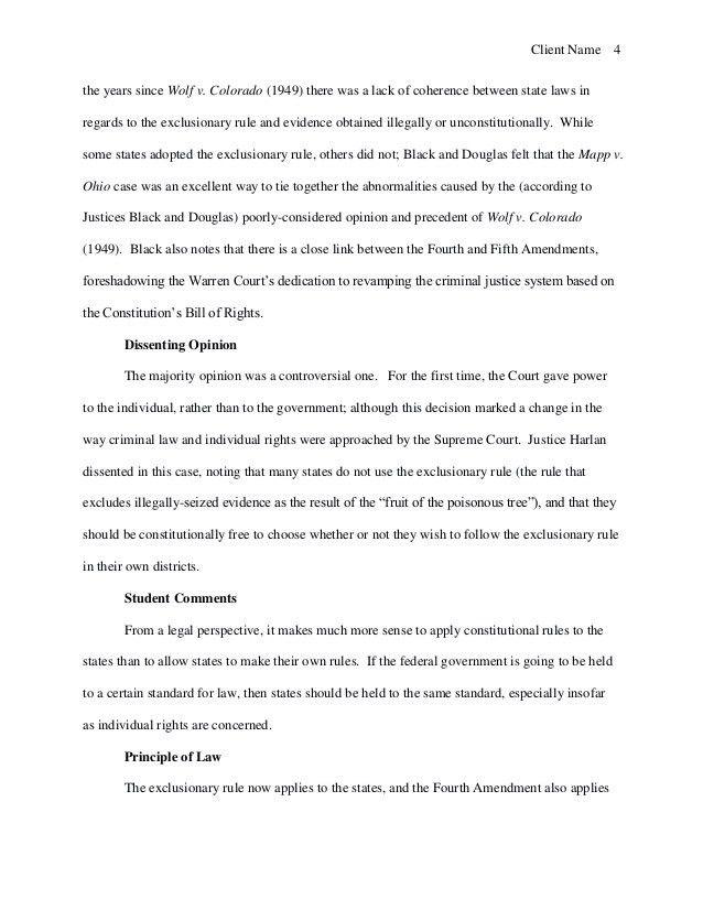 Brief of Mapp v. Ohio (1961) (Case Study Sample)