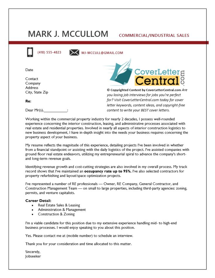Commercial Real Estate Cover Letter Example — Advanced Writing Tips