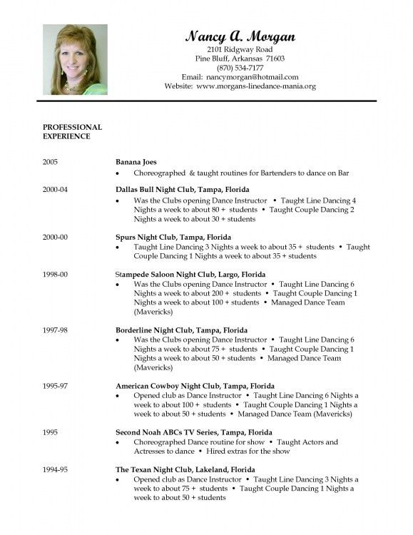 Dance Instructor Resume - formats.csat.co