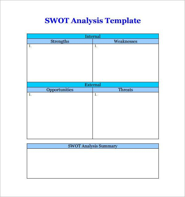 Sample Chart Templates » Swot Analysis Chart Template Word - Free ...