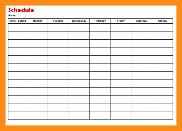 6+ weekly schedule template   actor resumed