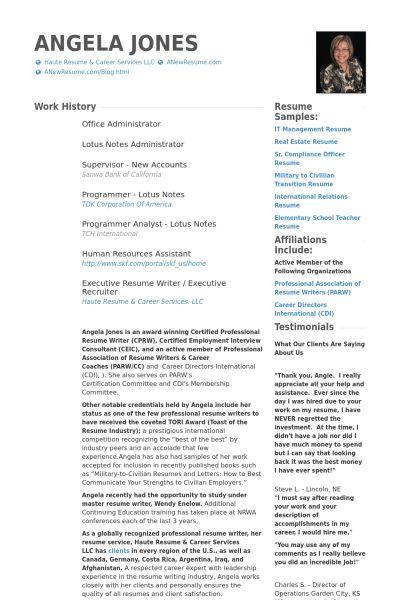 Office Administrator Resume samples - VisualCV resume samples database