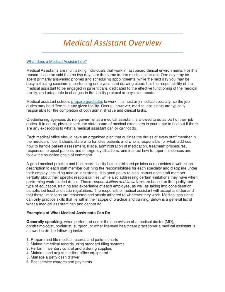 Medical Assistant Overview - What do Medical Assistants Do?