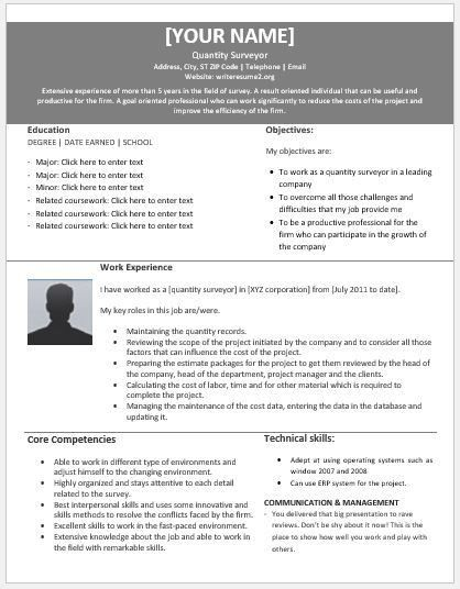 Quantitative Surveyor Resumes for MS Word | Resume Templates