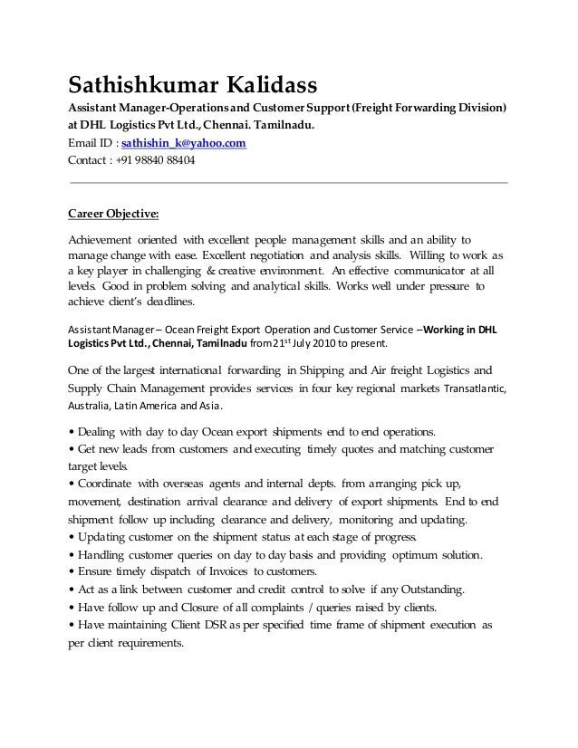 Freight Forwarder Resume Sample Freight Forwarder Resume Sample - freight forwarder resume sample