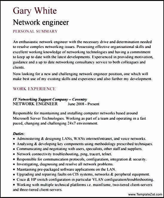 Network Engineer Resume Template. Engineering Cover Letter Example ...