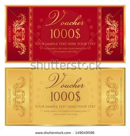 Gold Ticket Voucher Gift Certificate Coupon Stock Vector 149049596 ...