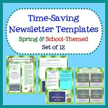 Spring & School Newsletter Templates - Easy to Use - Set of 12 ...