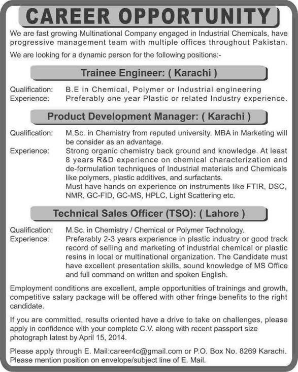 Chemical Industry Jobs in Karachi / Lahore 2014 April for Trainee ...