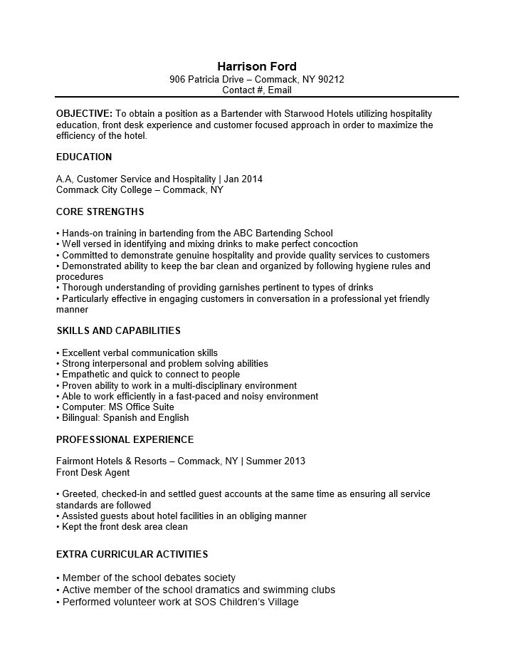 examples of resumes resume template objective bartender templates ...