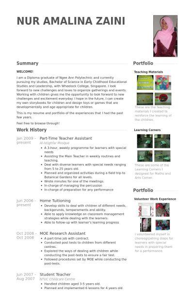 Teacher Assistant CV Örneği - VisualCV Özgeçmiş Örnekleri Veritabanı