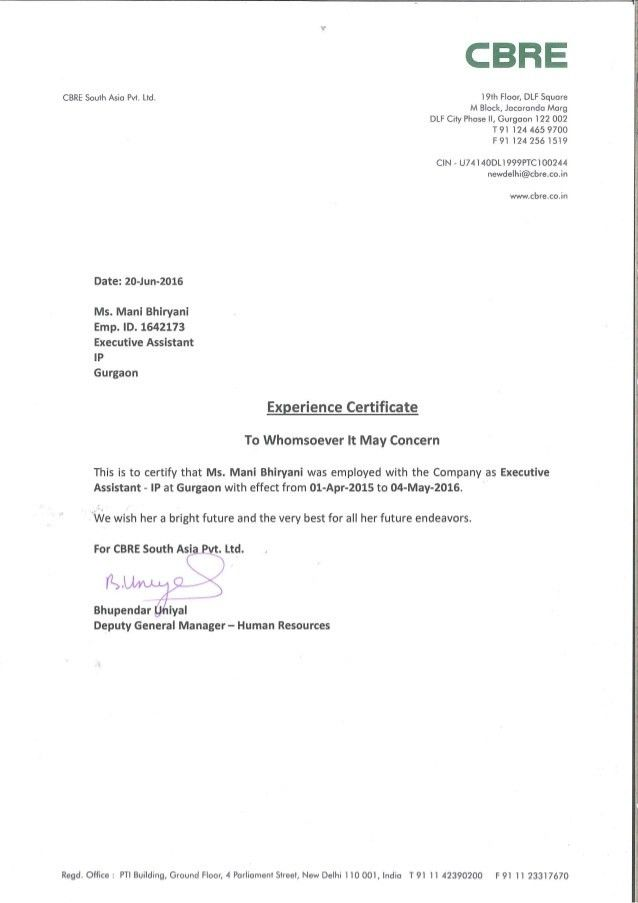 Experience Letter CBRE