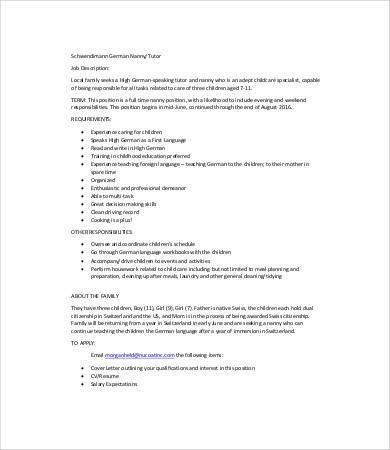 Nanny Job Description Templates - 6+ Free Word, Excel, PDF Format ...