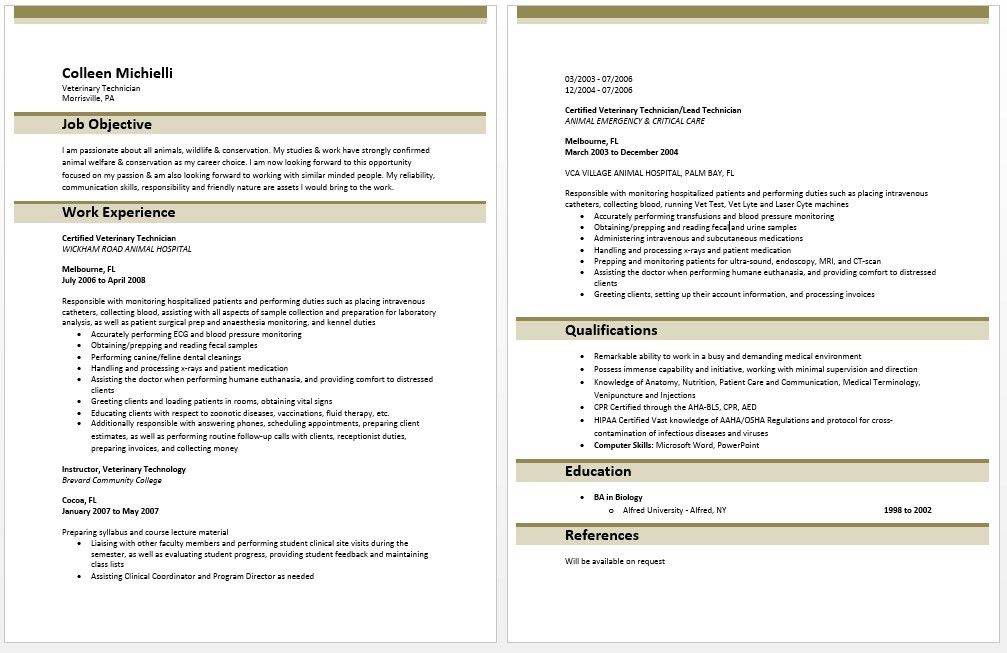 Sample Vet Tech Resume Veterinary Technician