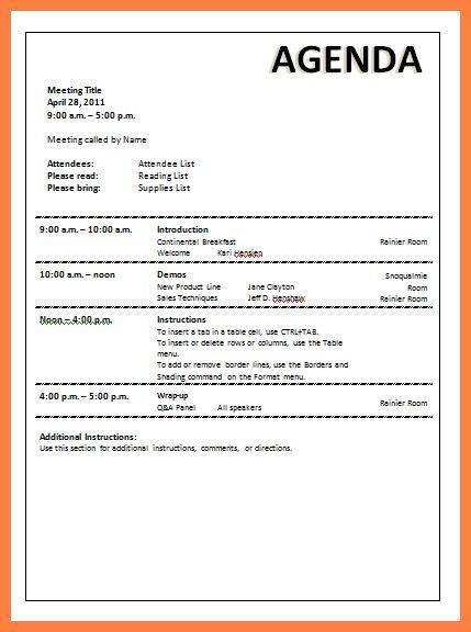 6+ company meeting agenda template | Company Letterhead