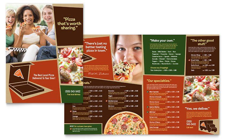 Pizza Pizzeria Restaurant Menu Template - Word & Publisher