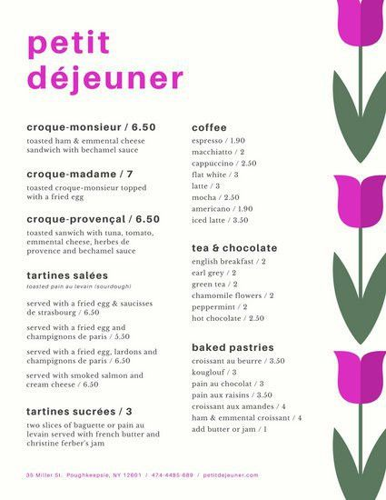 Simple Flowers French Breakfast Menu - Templates by Canva