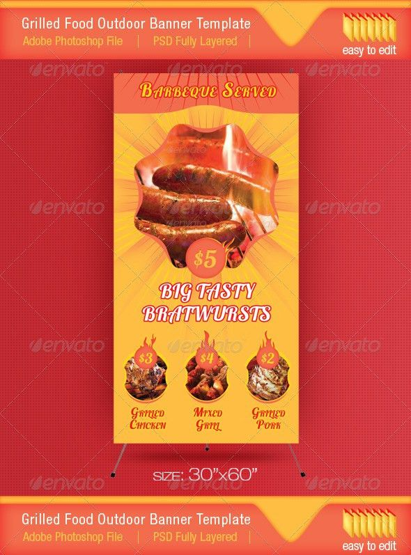 Barbeque Served Food Outdoor Banner Template   Banner template ...