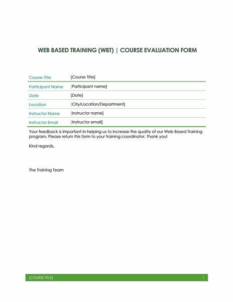 Web based training evaluation form - Office Templates