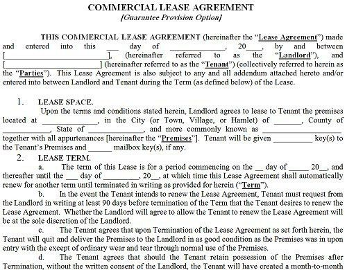 Printable Sample Commercial Lease Agreement Form | Real Estate ...