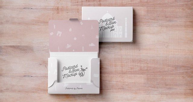 Psd Postcard Box Mockup | Psd Mock Up Templates | Pixeden