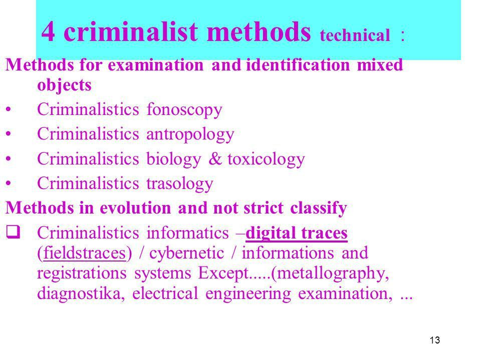 Methodological aspects using criminalistics methods in practice ...