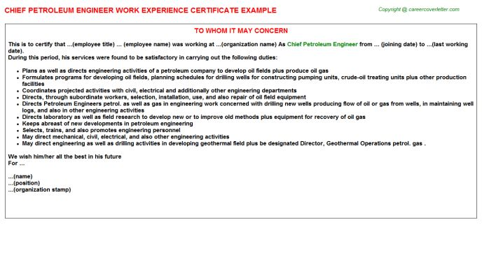 Petroleum Engineer Work Experience Letters