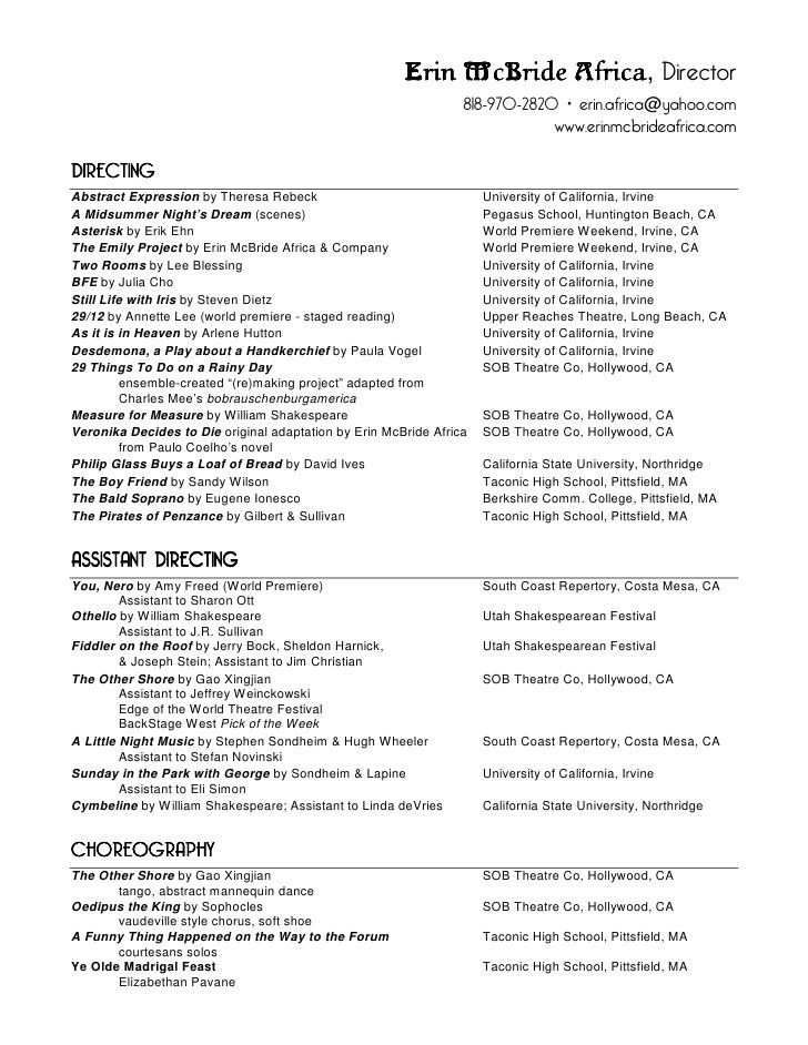 Erin Mc Bride Africa - Theatre Resume