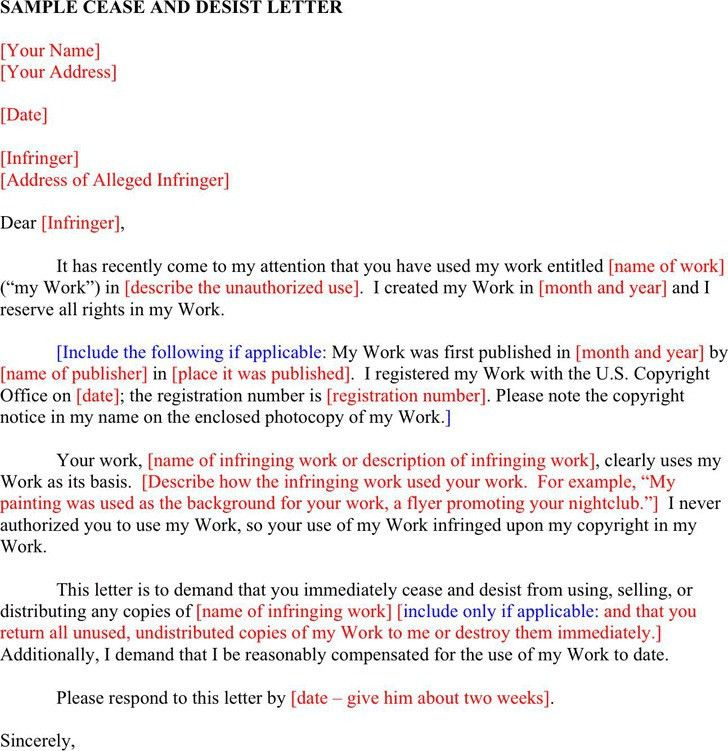 Letter Of Cease And Desist Template - cv01.billybullock.us