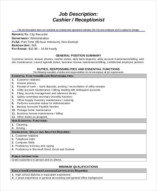 Charming Sample Cashier Job Dutie   7+ Documents In Word, PDF Amazing Pictures