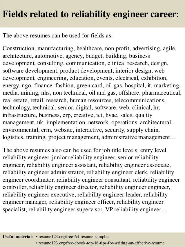 Top 8 reliability engineer resume samples