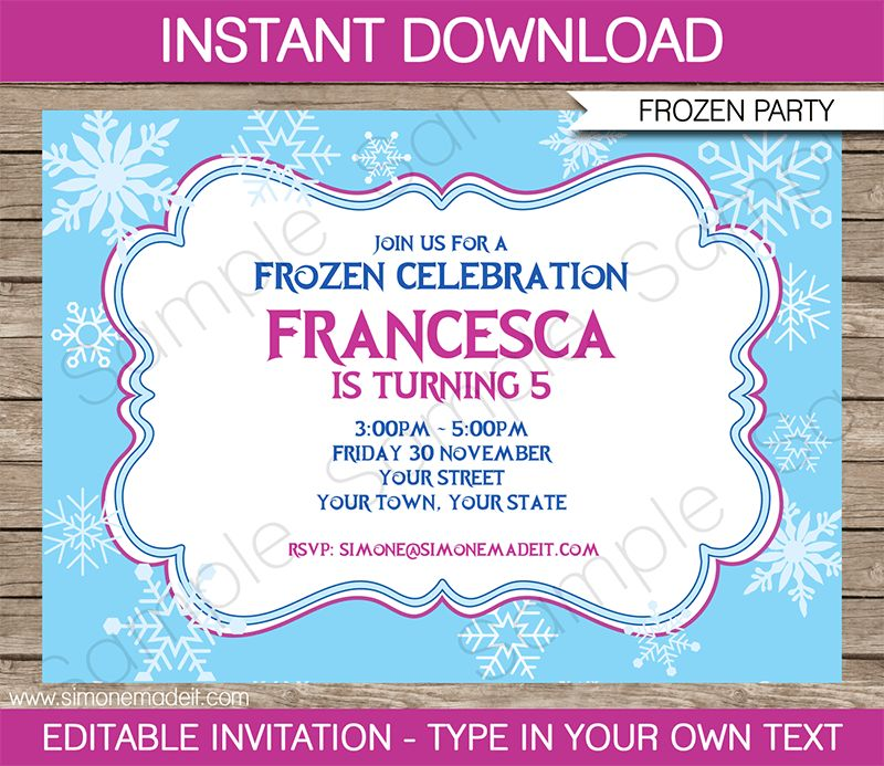 Frozen Invitation Template | DIY Editable Frozen Invitations
