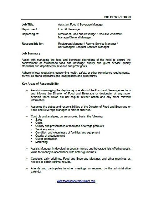 Manager Job Description. Job Descriptions Job Descriptions   Food .