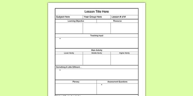 Editable Individual Lesson Plan Template - lesson planning