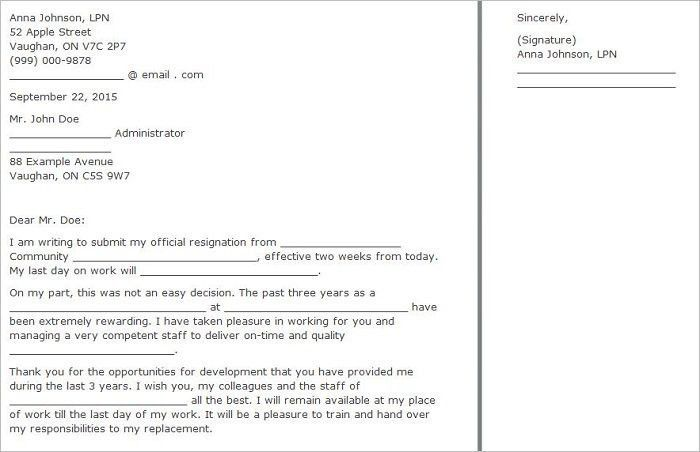 Two Weeks Notice Letter Templates   Free PDF, Word Documents .