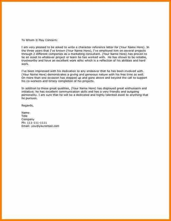 Character Reference Letter Template For Excel Pdf And Word ...