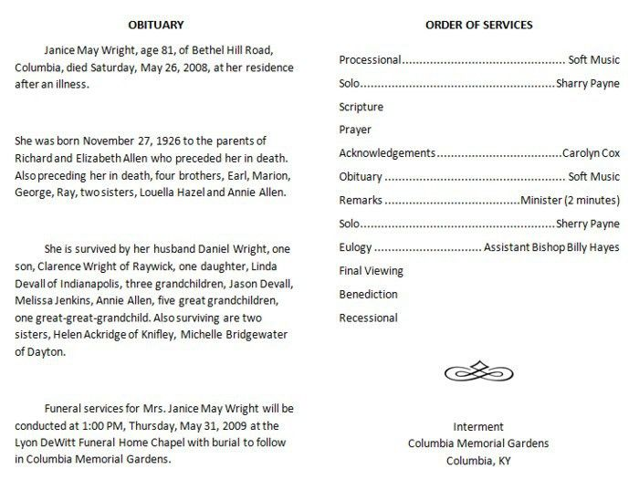 Funeral Program Samples 73 Best Printable Funeral Program – Funeral Program Example