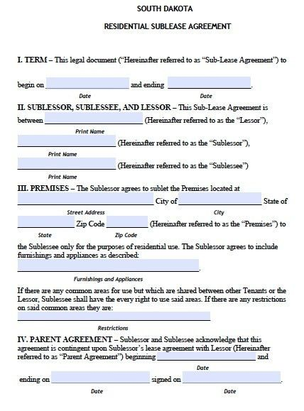 Free South Dakota Sublease Agreement Form – PDF