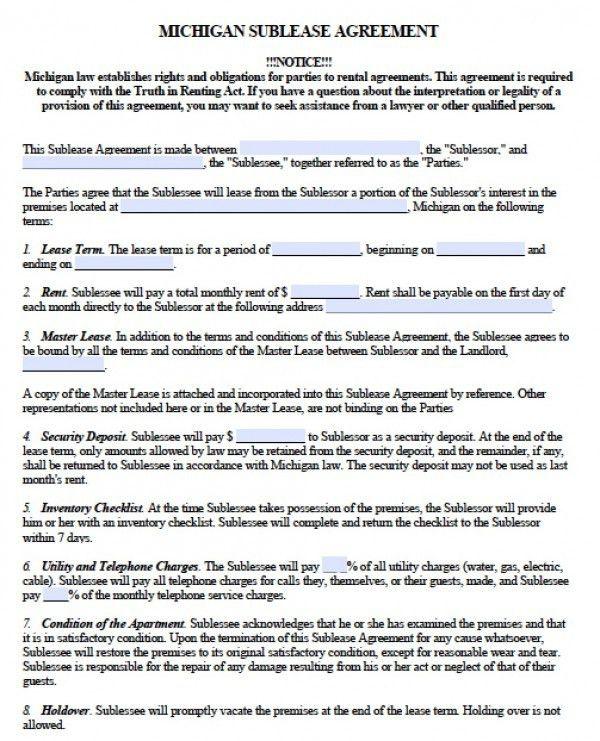 Free Michigan SubLease Agreement | PDF | Word (.doc)