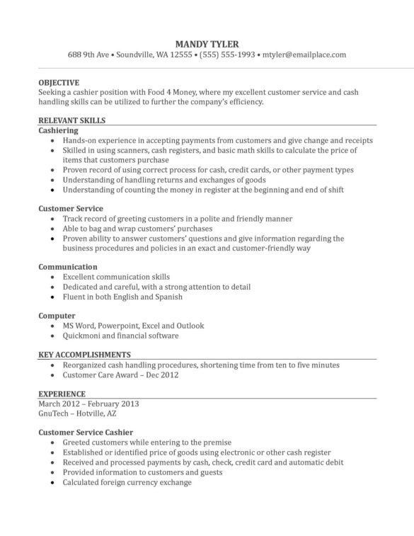 Nice Sample of Customer Service Cashier Resume with Relevant ...
