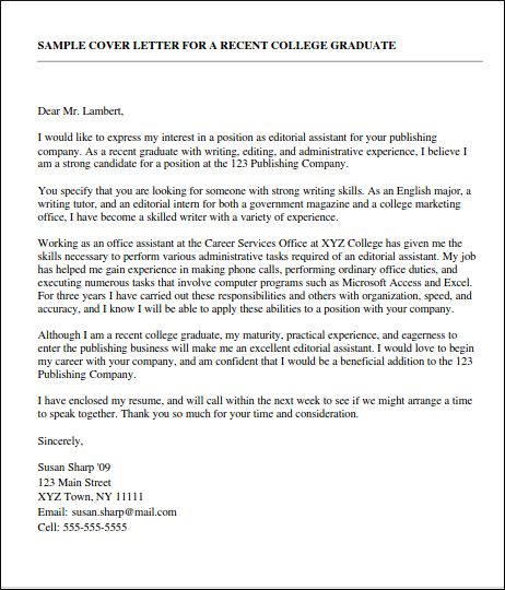 Sample Cover Letter For New Graduate