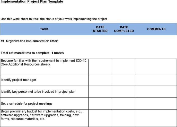 Project Schedule Sample Schedule Template Project Schedule – Implementation Plan Template