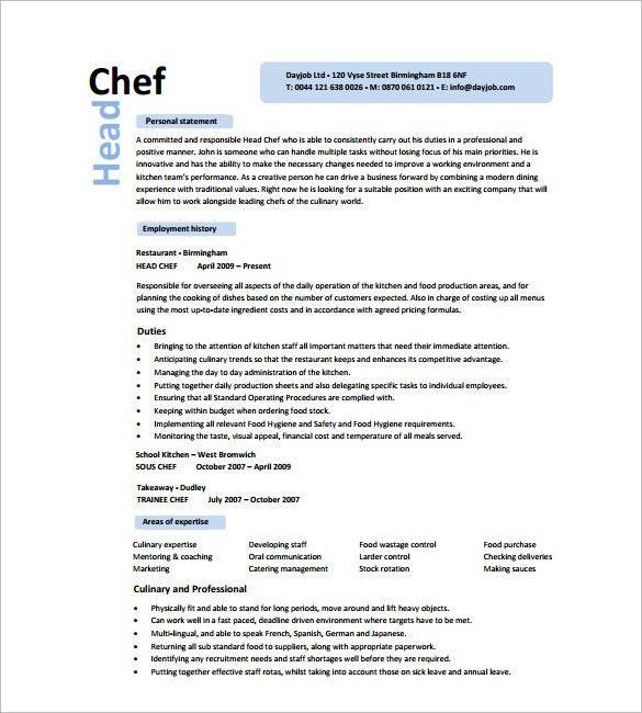 chef resume template free chef resume template 11 free samples