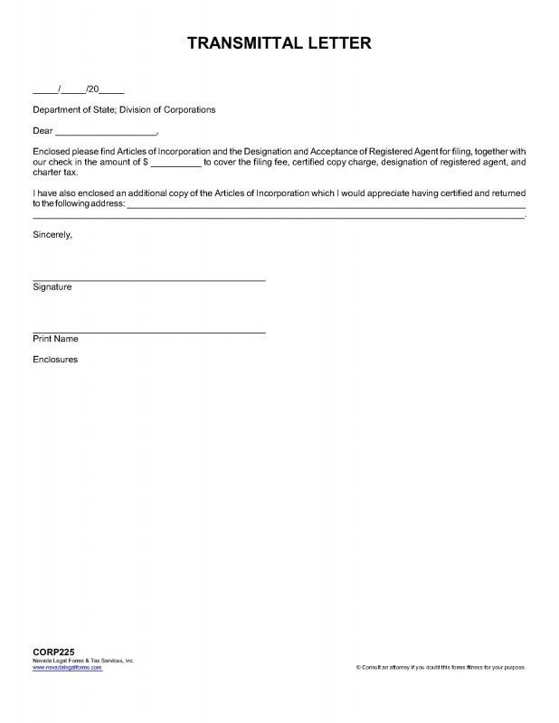 TRANSMITTAL LETTER - Nevada Legal Forms & Tax Services Inc.