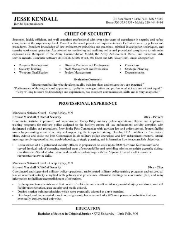 Security officer resume cover letter
