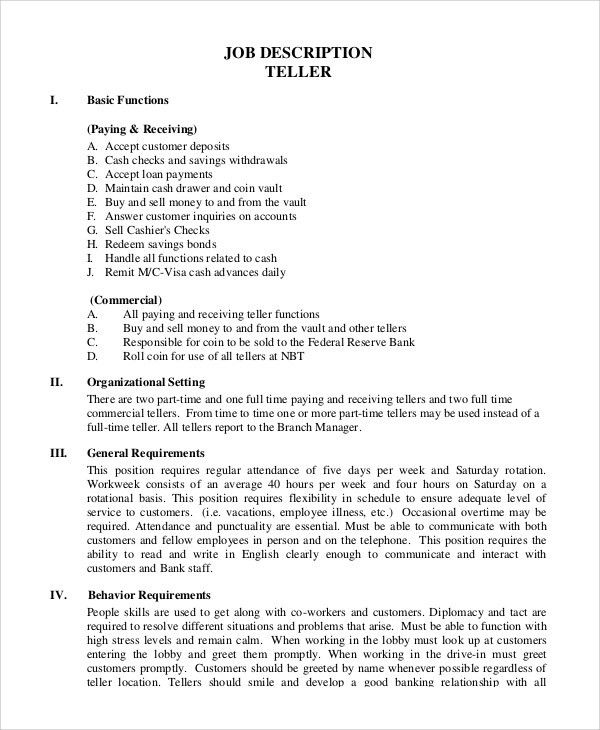 Sample Teller Job Description - 8+ Examples in PDF