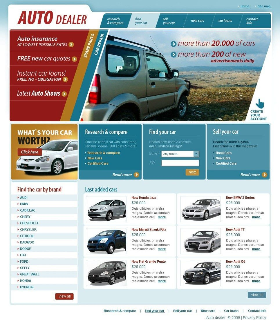 Car Dealer Website Template #26113